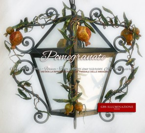 PomegranateLantern Lantern in wrought iron with Pomegranates. Country Collection.