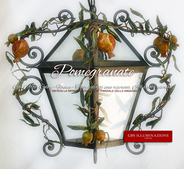 Pomegranate Lantern Lantern in wrought iron with Pomegranates. Country Collection.