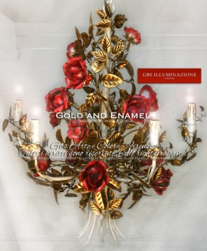 Romantic Gold and Enamel Chandelier with roses