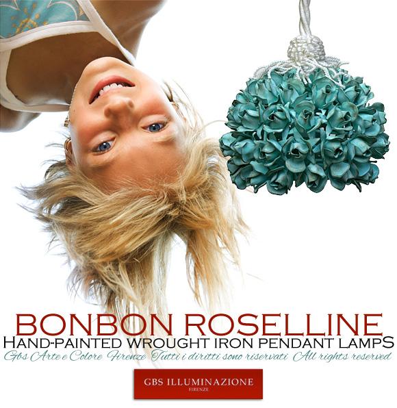Lampada a sospensione Design. Bonbon Roselline di GBS. Tempera patinata verde acqua. Per la Camera da letto o la cameretta.