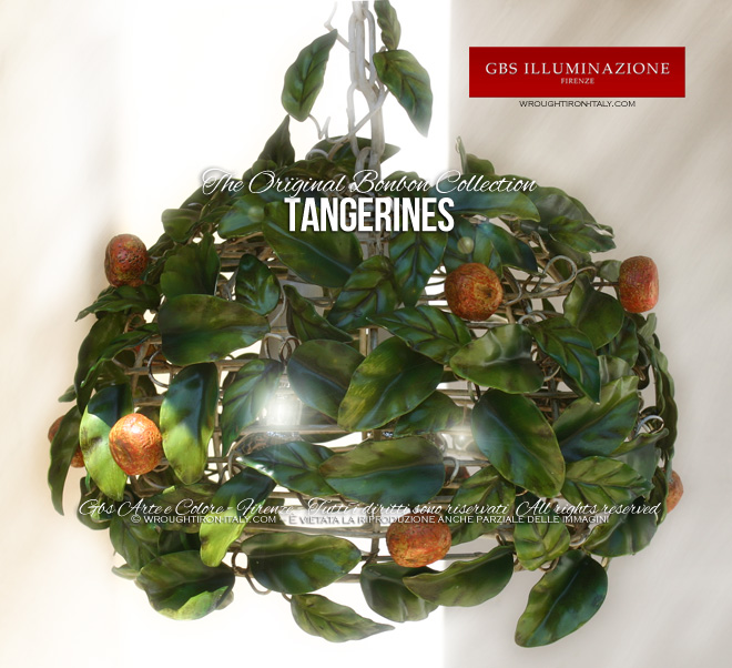 TANGERINES, hand-decorated wrought iron pendant light - Country chic kitchen lighting
