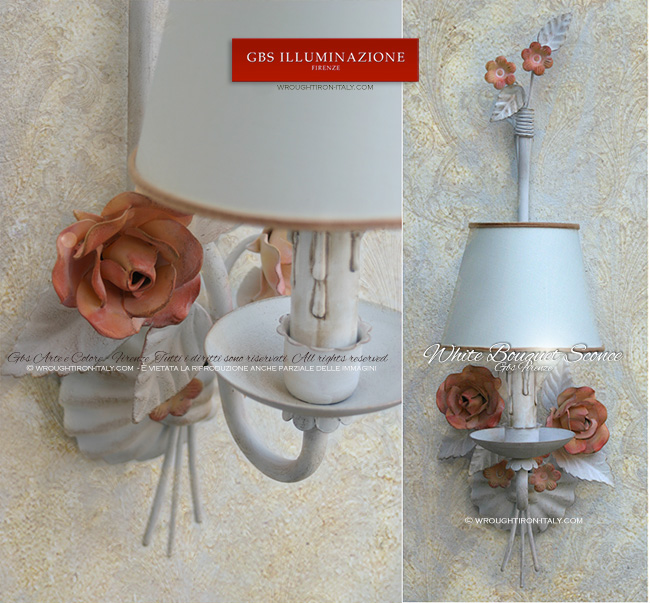 White Bouquet Sconce with roses in tempera