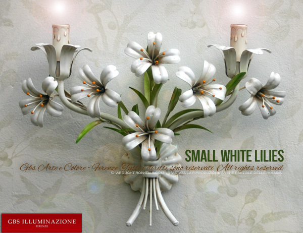 Small White Lilies, 2-light Sconce