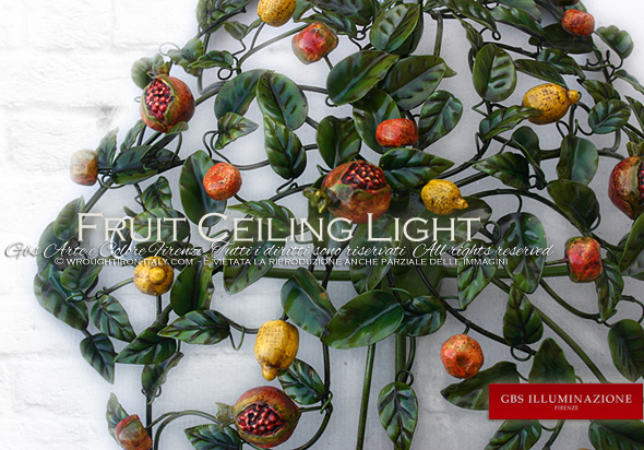Ceiling light in hand-decorated wrought iron, antique enamel. Perfect for kitchen furnishing and lighting