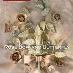 1-light Sconce with Rose Bow and Butterfly, white enamel patina. Hand-decorated wrought iron.