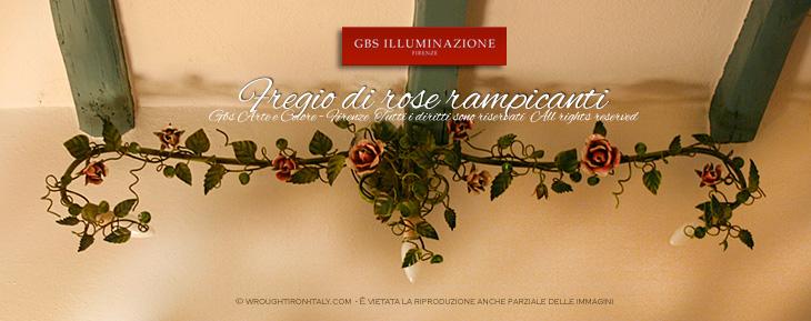 Applique con tre faretti fregio di rose rampicanti gbs illuminazione ferro battuto - Applique per il bagno ...