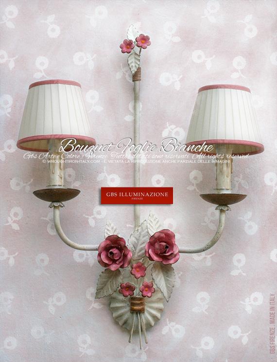 Applique Bouquet Foglie Bianche per camere romantiche e camerette. colori coordinati.