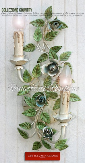 Applique Rametto di roselline - Collezione Country Romantico - Applique 2 Luci