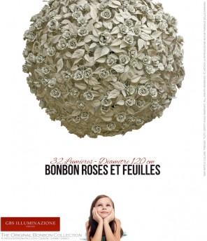 Bonbon Roses et feuilles 32 Lumières - Diamètre 120 cm