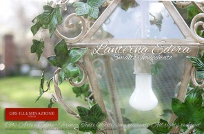 Lanterna con edera rampicante, in ferro battuto e decorato a mano. Cucina Country Chic. Collezione Country di GBS Firenze