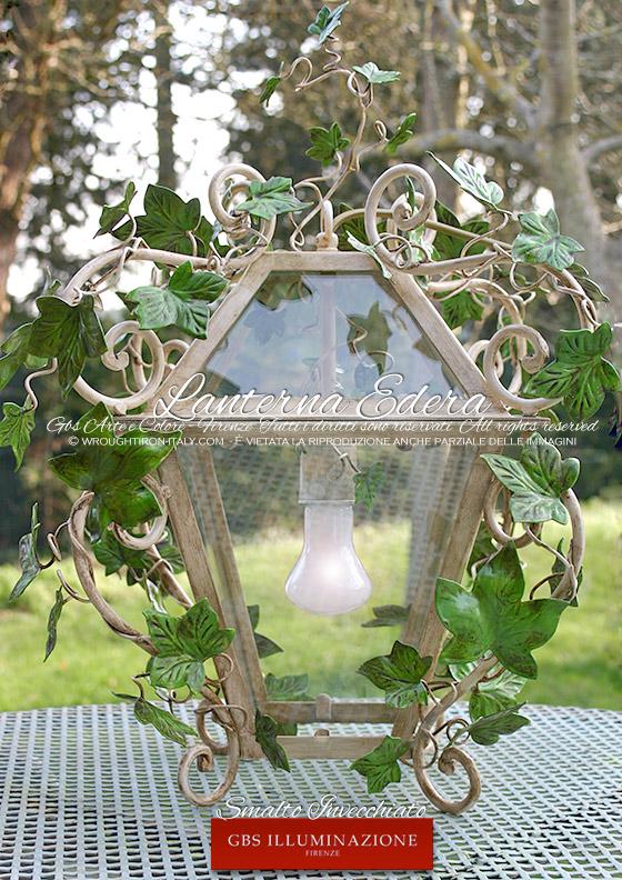 Cucina country chic lanterna edera in smalto bianco gbs - Lanterne da esterno in ferro battuto ...