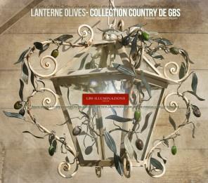 Lanterne avec olives, blanche en fer forgé, tempera effet moisi et émail effet vieilli. Lanterne classique, Collection Country de GBS, avec des branches d'olivier et des olives vertes.