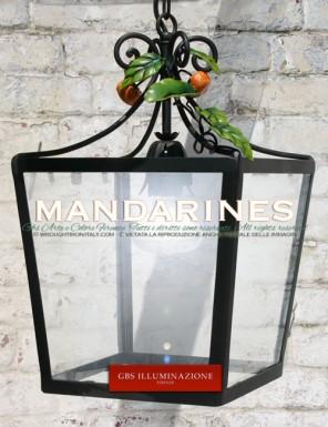 Lanterne carrée avec des mandarines Petites mandarines, lanterne en fer forgé et décoré à la main. Pour Salle à manger - Cuisine