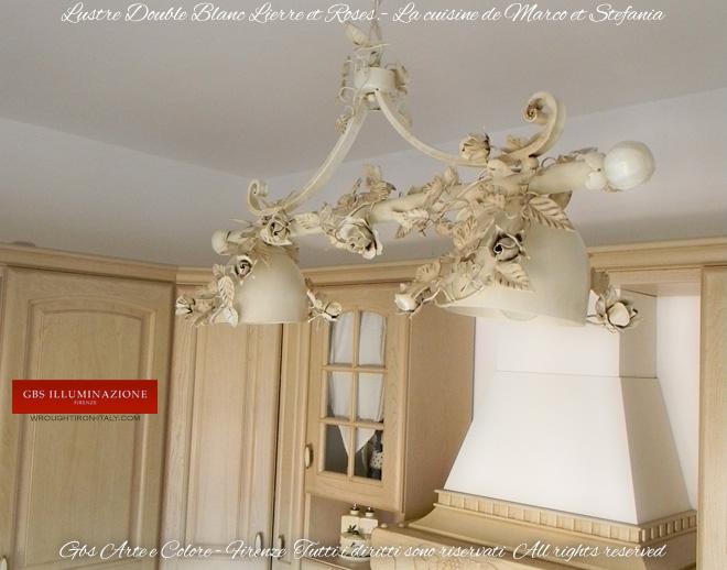 lustre double blanc lierre et roses gbs illuminazione ferro battuto wrought iron lightings. Black Bedroom Furniture Sets. Home Design Ideas