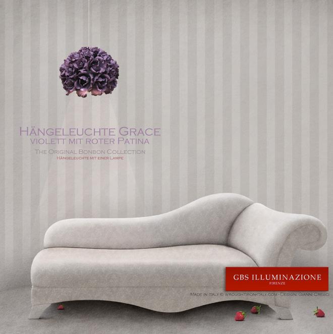 Grace, über einem Sofa aufgehängt, um den Lesebereich zu beleuchten. Kollektion Bonbon von GBS. Design: Gianni Cresci. Made in Italy - Rosen Hängelampen