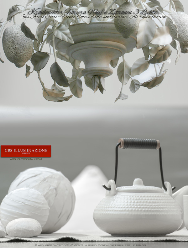 Kronleuchter Fioriera Weiße Zitronen 3 Lichter. Kollektion Country von GBS FIRENZE. MADE IN ITALY