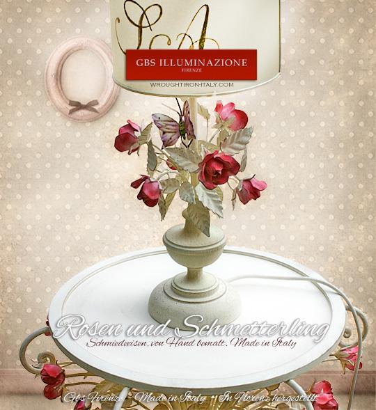 nachttisch mit rosen und schmetterling gbs illuminazione ferro battuto wrought iron. Black Bedroom Furniture Sets. Home Design Ideas