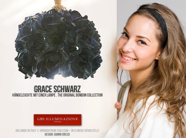 Grace, mattschwarz. Hängeleuchte in  mattschwarz, direkte Beleuchtung und diffuses Licht in Filigranarbeit