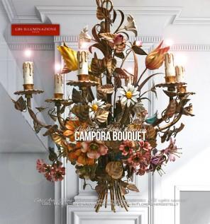 Bouquet Leuchte aus Schmiedeeisen, patiniertem Gold . Blumenarrangement aus Tulpen, Margeriten, Geranien, Lilien, Klematis, Wildrosen und Rosenknospen
