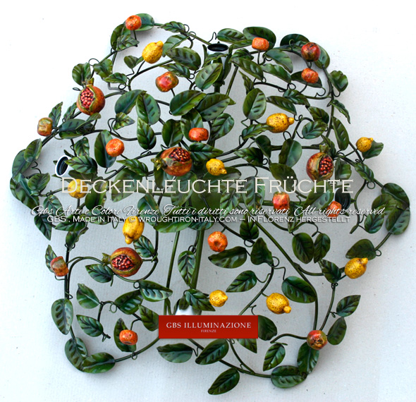 Runde Deckenleuchte Früchte mit vier halbversteckten Lampen, mit Granatäpfeln, Zitronen, Äpfeln und Mandarinen.