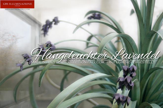 h ngeleuchter lavendel mit gr nen bl ttern gbs illuminazione ferro battuto wrought iron. Black Bedroom Furniture Sets. Home Design Ideas
