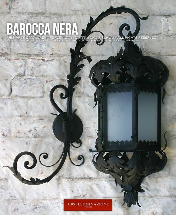 Barocca lanterna nera gbs illuminazione ferro - Lampioni in ferro battuto da esterno ...