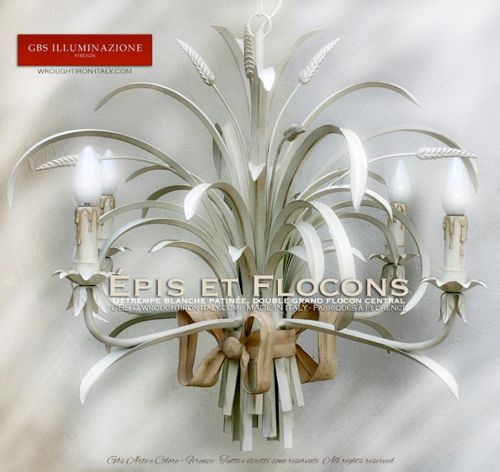 Lustre Épis et Flocons en fer forgé décoré à la main. Country et shabby chic. Made in Italy