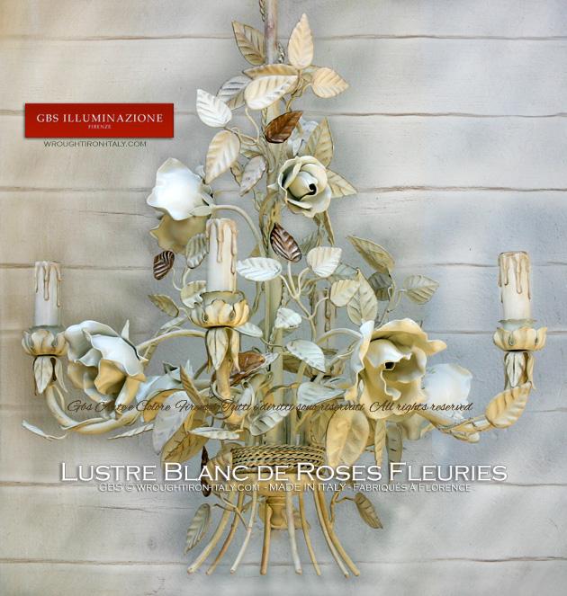 Lustre Blanc de Roses Fleuries, Fer forgé décoré à la main, Shabby romantique