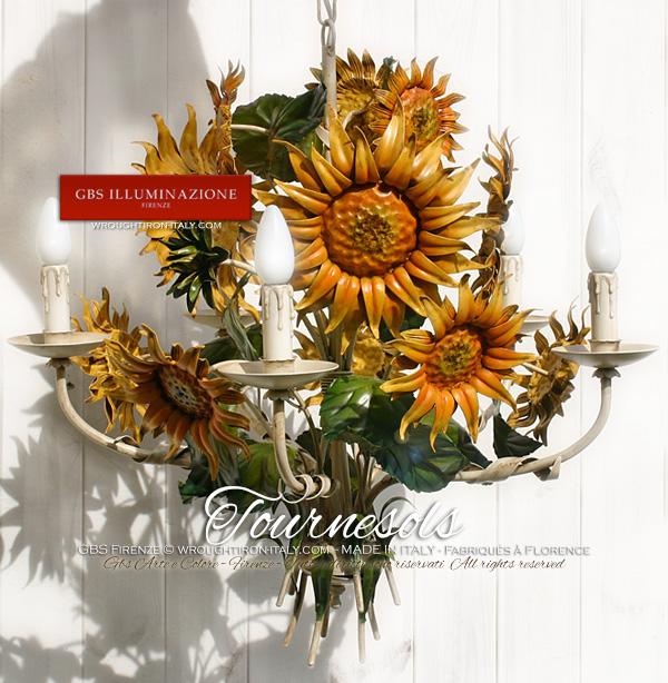 Lustre avec fleurs de Tournesol en Fer forgé. Country