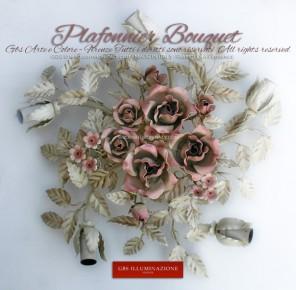 Plafonnier Bouquet blanc, rond, émail blanc patiné, roses couleur rose pétale