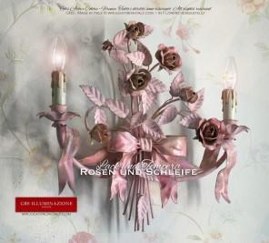 Romantische shabby chic Wandleuchte mit zwei Lampen, mit Schleife und Bändern, Rosen und Knospen