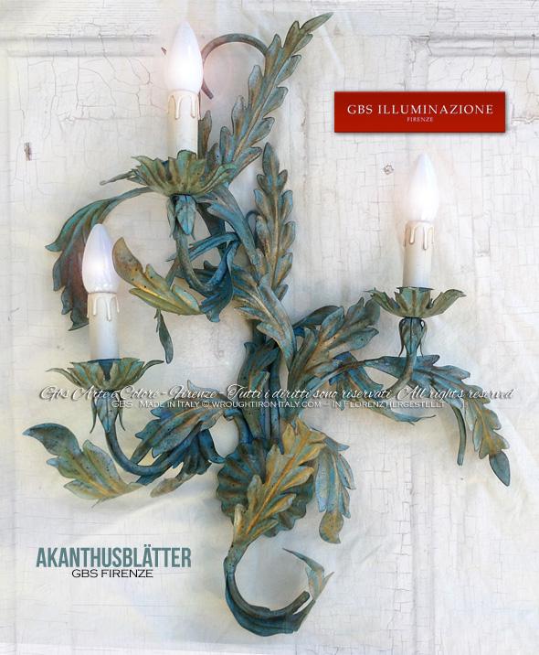 Akanthusblätter, Wandleuchter mit drei Lampen