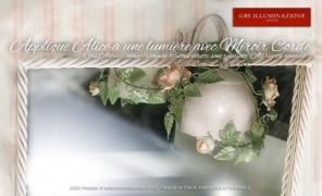 Applique Alice avec roses à une lumière avecMiroir Corde