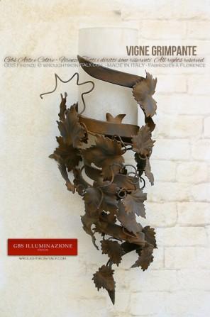 Applique Torchère Vigne Grimpante en vigne mur à la détrempe rouille