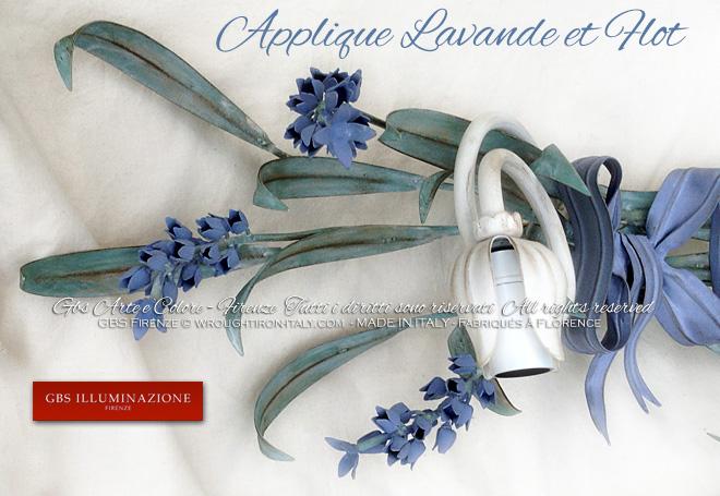 Country Chic Applique en fer forgé et décorée à la main. Collection Lavande.