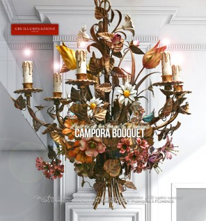 Campora Lustre Bouquet 6 Lampes en fer forgé