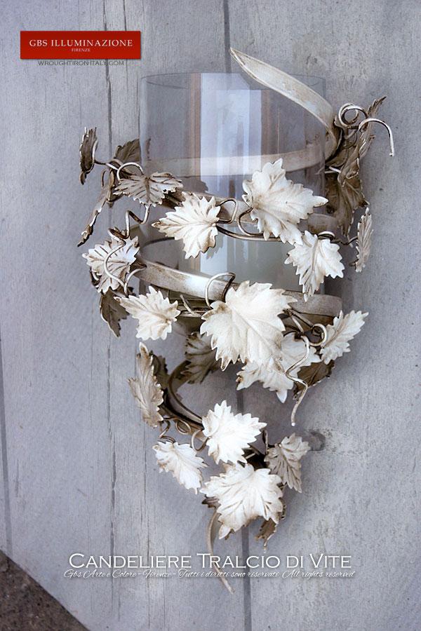 Applique Candeliere bianco Tralcio di Vite