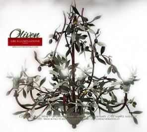 """Country Küche - Leuchter """"Oliven"""" von GBS, aus handverziertem Schmiedeeisen, patinierte Temperafarbe, Gold und Lack"""