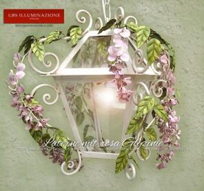 Laterne mit rosa Glyzinie Küchen im Country-Stil oder für die stilvolle Beleuchtung von Fluren, Verandas, Loggias