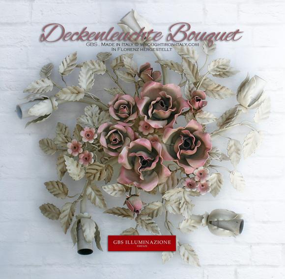 Deckenleuchte Bouquet mit Rosen und Erdbeerblüten