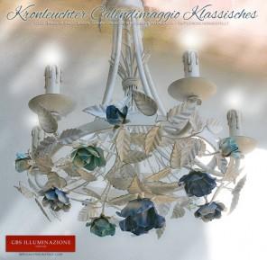 Kronleuchter aus Schmiedeeisen, Rosen Calendimaggio klassisch in Kobaltblau und Türkis, vollständig von Hand bemalt.