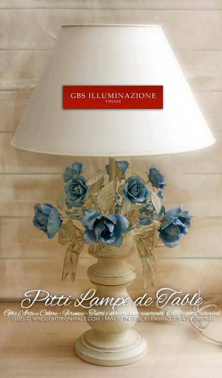 Chambre à coucher Chambre d'enfant: Lampe de table Bouquet de Roses et Flocon. Style Romantique
