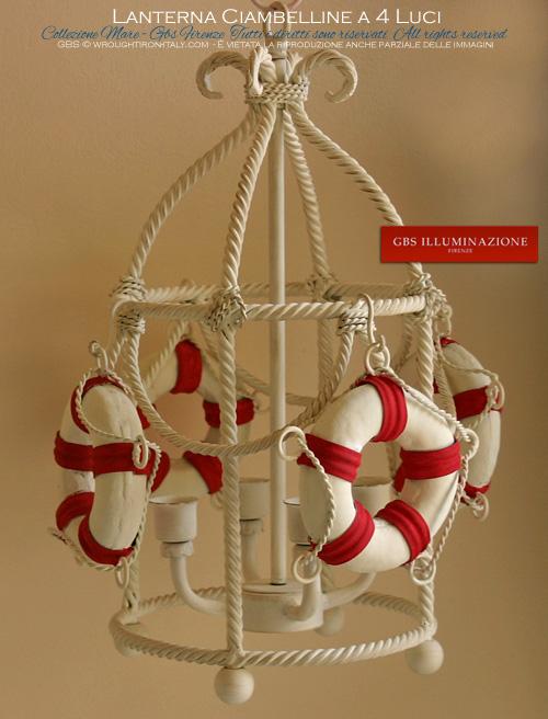 Lanterna Mare. Con ciambelle per la cameretta Navy, per la barca o per l'arredamento in stile marino