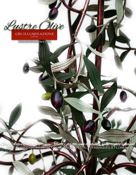 Lustre Olives de GBS, en fer forgé et décoré à la main, finition à la détrempe ancienne, or et émail.