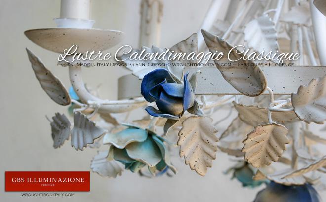Lustre Lustre en fer forgé blanc - Shabby Romantique - Calendimaggio Classique à 5 Lampes