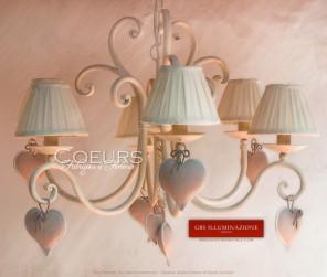 Lustre à 6 coeurs lumière en fer forgé,Chambre à coucher, Chambre d'enfant. Shabby Romantique