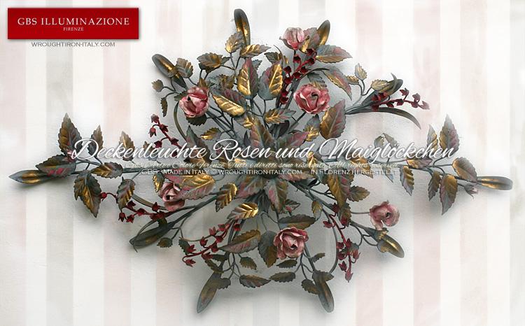 Deckenleuchte Rosen und Maiglöckchen