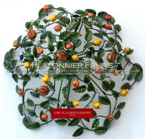 Plafonnier Fruits de forme ronde pour la décoration et l'éclairage de la cuisine. Style Country