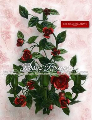 Applique en fer forgé et décorée à la main, à trois lumières, avec Roses Rouges
