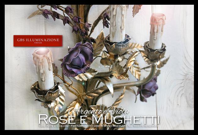 Applique Rose e Mughetti, Argento e Viola - Dettaglio